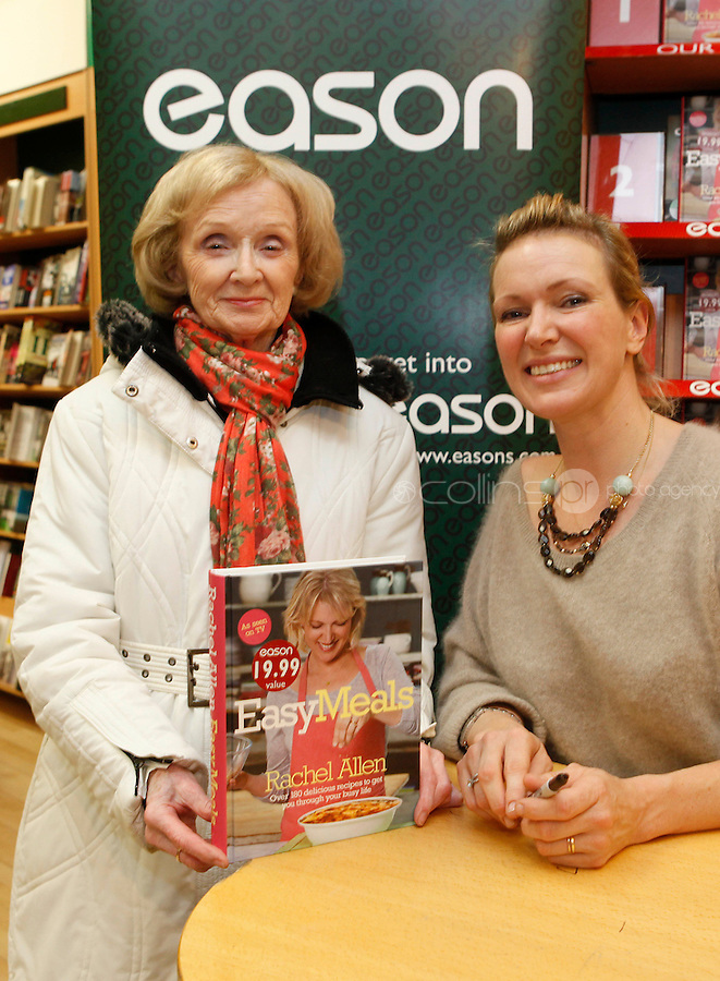 """*** NO FEE PIC ***.01/10/2011.Eason Ireland's leading retailer of books stationery, magazines & lots more hosted a book sigining by best selling cookery writer & TV cook Rachel Allen who signed copies of her new book """" Easy Meals"""" for fan Christine Ryan from Santry.at Eason O' Connell St, Dublin..Photo: Gareth Chaney Collins"""