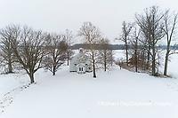63895-16807 Pleasant Grove Methodist Church in snow-winter-aerial-Marion Co. IL
