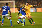 June 13th 2017, Melbourne Cricket Ground, Melbourne, Australia; International Football Friendly; Brazil versus Australia; Paulinho of Brazil and Tim Cahill of Australia battling for possession of the ball