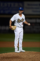 Rancho Cucamonga Quakes relief pitcher Logan Salow (49) during a California League game against the Lake Elsinore Storm at LoanMart Field on May 19, 2018 in Rancho Cucamonga, California. Lake Elsinore defeated Rancho Cucamonga 10-7. (Zachary Lucy/Four Seam Images)