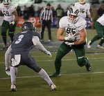 Colorado State tight end 	Trey McBride (85) runs against Nevada in the second half of an NCAA college football game in Reno, Nev., Saturday, Nov. 10, 2018. (AP Photo/Tom R. Smedes)