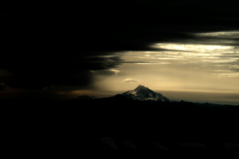 Mt. Jefferson as seen from Timberline lodge with storm. Oregon