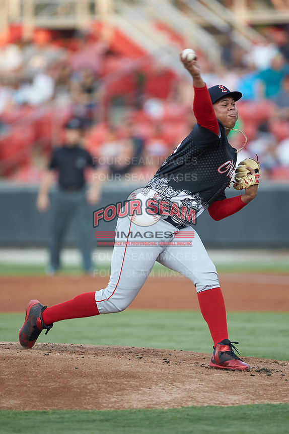 North Division starting pitcher Daniel Gonzalez (39) of the Salem Red Sox in action during the 2018 Carolina League All-Star Classic at Five County Stadium on June 19, 2018 in Zebulon, North Carolina. The South All-Stars defeated the North All-Stars 7-6.  (Brian Westerholt/Four Seam Images)