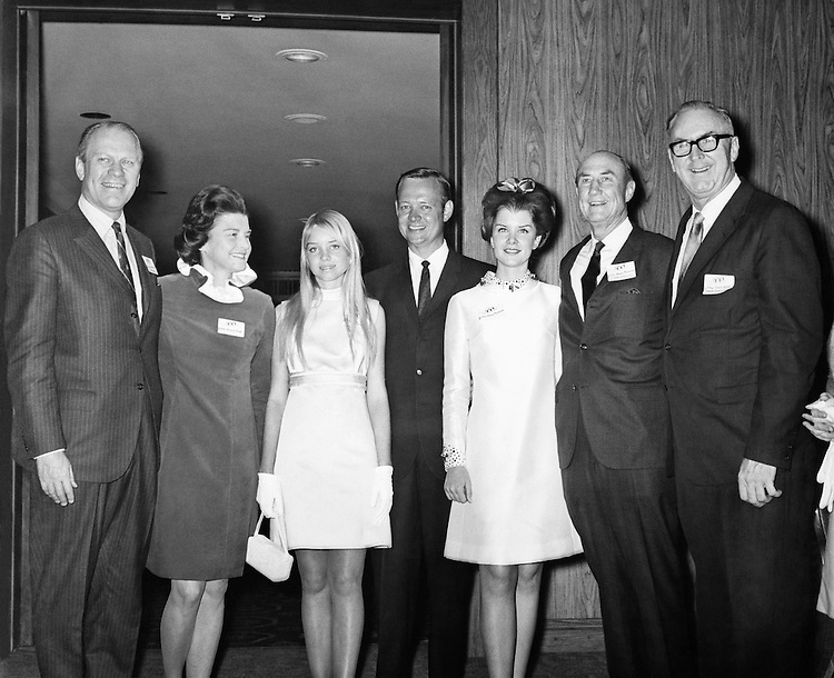 Sen. James Strom Thurmond, R-S.C., with his wife, Nancy Janice Moore, Jim Broyhill of North California, and his daughter. (Photo by CQ Roll Call)