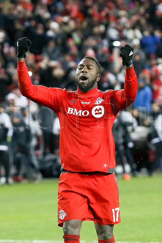 10.12.206. Toronto, ONT, Canada. MLS Football League Cup. Jozy Altidore #17 of Toronto FC celebrates scoring his penalty kick against the Seattle Sounders on December 10, 2016, at BMO Field in Toronto, ON, Canada. Seattle won 5-4 on penalty kicks.