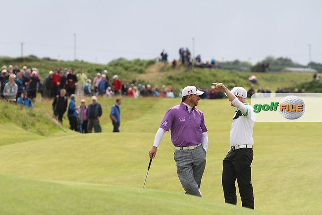 Graeme McDowell (NIR) and Simon Dyson (ENG) on the 12th on Day 2 of the 2012 Irish Open at Royal Portrush Golf Club, Portrush, Co.Antrim, 29/6/12...(Photo Jenny Matthews/www.golffile.ie)