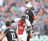 Carlos Ruiz (20) of D.C. United head the ball against Andrew Jean-Baptiste (35) of the Portland Timbers. The Portland Timbers defeated D.C. United 2-0, at RFK Stadium, Saturday May 25 , 2013.