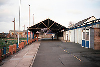 Covered terracing at Ashington FC Football Ground, Portland Park, Ashington, Northumberland, pictured on 31st March 1994