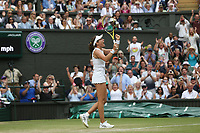 Johanna Konta (GBR) celebrates after winning her match against Petra Kvitova (CZE) in their Ladies' Singles Fourth Round match<br /> <br /> Photographer Rob Newell/CameraSport<br /> <br /> Wimbledon Lawn Tennis Championships - Day 7 - Monday 8th July 2019 -  All England Lawn Tennis and Croquet Club - Wimbledon - London - England<br /> <br /> World Copyright © 2019 CameraSport. All rights reserved. 43 Linden Ave. Countesthorpe. Leicester. England. LE8 5PG - Tel: +44 (0) 116 277 4147 - admin@camerasport.com - www.camerasport.com