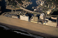 Aerial of Virginia Beach at Rudee Inlet. Resorts, Recreation, Atlantic Ocean, Marina, Boats. Virginia Beach VA USA.
