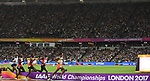 The leaders go past the finish line in the 10,000m mens final. Mo Farah (GBR) far left. IAAF World athletics championships. London Olympic stadium. Queen Elizabeth Olympic park. Stratford. London. UK. 04/08/2017. ~ MANDATORY CREDIT Garry Bowden/SIPPA - NO UNAUTHORISED USE - +44 7837 394578