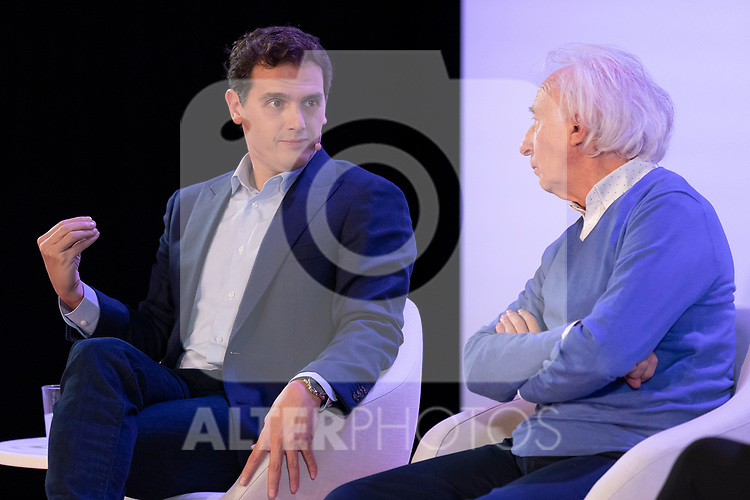 "(LtoR) President of citizen Albert Rivera and dramatist Albert Boadella, during the citizen meeting ""Espana en marcha"". October 24, 2019. (ALTERPHOTOS/Johana Hernandez)"