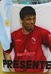 24 June 2006: Banner featuring Sergio Aguero in a Club Atletic Independiente jersey, a young Argentina player who was not picked for Argentina's world cup team. Argentina (1st place in Group C) defeated Mexico (2nd place in Group D) 2-1 after extra time at the Zentralstadion in Leipzig, Germany in match 50, a Round of 16 game, in the 2006 FIFA World Cup.