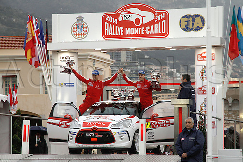 19.01.2014. Monte Carlo, Monaco. The WRC Monte Carlo rally conclusion.  11th overall position for S. CHARDONNET and  DE LA HAYE