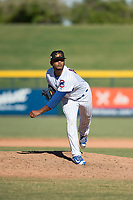 Mesa Solar Sox relief pitcher Manuel Rondon (51), of the Chicago Cubs organization, follows through on his delivery during an Arizona Fall League game against the Surprise Saguaros at Sloan Park on November 1, 2018 in Mesa, Arizona. Surprise defeated Mesa 5-4 . (Zachary Lucy/Four Seam Images)