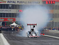 Apr 21, 2018; Baytown, TX, USA; NHRA top fuel driver Steve Torrence during qualifying for the Springnationals at Royal Purple Raceway. Mandatory Credit: Mark J. Rebilas-USA TODAY Sports