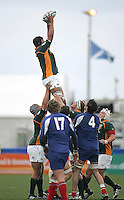 South African second row Cornell Hess collects this lineout ball during the Division A U19 World Championship clash against France at Ravenhill.