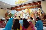 Spirtual Leader Ram Hardowar leading the service at Shri Surya Narayan Mandir in Jamaica Queens, NY on Sunday December 7, 2008.