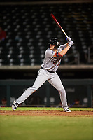 Scottsdale Scorpions Greyson Jenista (30), of the Atlanta Braves organization, at bat during an Arizona Fall League game against the Mesa Solar Sox on September 18, 2019 at Sloan Park in Mesa, Arizona. Scottsdale defeated Mesa 5-4. (Zachary Lucy/Four Seam Images)
