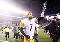 Ben Roethlisberger #7 of the Pittsburgh Steelers tips his hat to the crowd following their 18-16 win against the Cincinnati Bengals during the Wild Card playoff game at Paul Brown Stadium on January 9, 2016 in Cincinnati, Ohio. (Photo by Jared Wickerham/DKPittsburghSports)