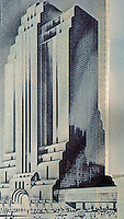Helmut Jahn: Northwestern Terminal, Chicago. Rendering, 1983. 43 floors.