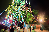 Hand operated ferris wheel at Pindaya Cave Festival, Shan State, Myanmar