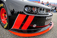 Oct. 30, 2009; Talladega, AL, USA; Detail view of the front end of the new 2010 car of tomorrow Dodge Challenger to be driven by NASCAR Nationwide Series driver Justin Allgaier at the Talladega Superspeedway. Mandatory Credit: Mark J. Rebilas-
