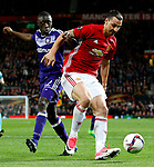 Zlatan Ibrahimovic of Manchester United and Frank Acheampong of Anderlecht during the UEFA Europa League Quarter Final 2nd Leg match at Old Trafford, Manchester. Picture date: April 20th, 2017. Pic credit should read: Matt McNulty/Sportimage