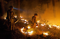 Firefighters use drip torches to set a controlled burn to create a safe zone around homes close to the King Fire in the town of Pollock Pines, California, USA, on 17 September 2014. Fire crews around California fight 12 major fires across the state, including the King Fire which has burned 27,930 acres (11,084 hectares), only 5% contained, and located east of Sacramento, California, USA in El Dorado County.