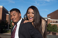 Homecoming King, Anthony Daniels, and Homecoming Queen, Victoria Vivians, excited about handing out pancakes to students.<br />  (photo by Beth Wynn / &copy; Mississippi State University)