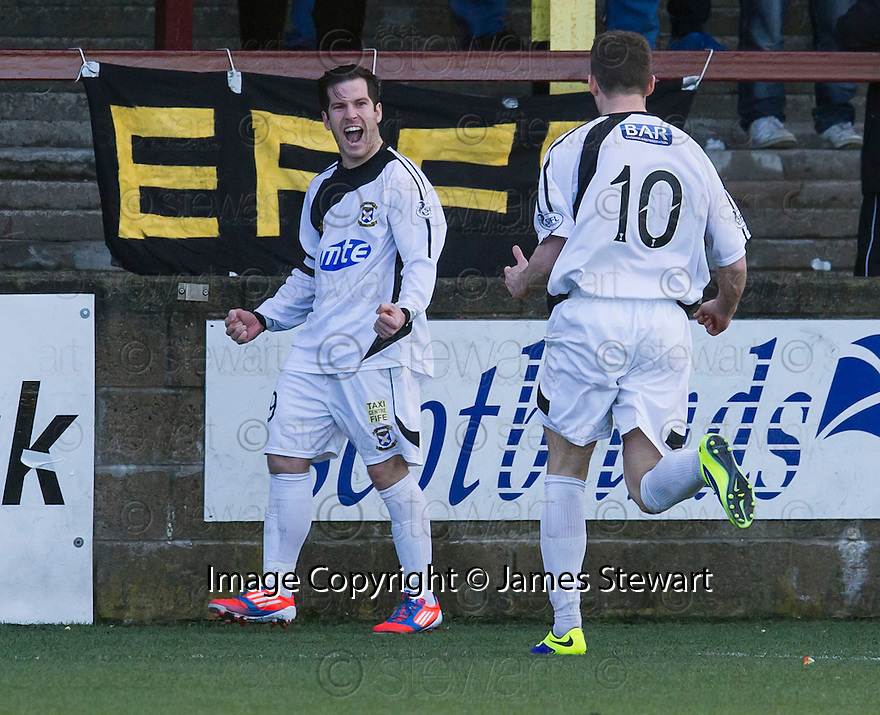 East Fife's Liam Buchanan (19) celebrates after he scores their goal.<br /> <br /> <br /> 15/02/2014   jspa009_smuir_v_efife     <br /> Copyright  Pic : James Stewart   <br /> <br /> James Stewart Photography 19 Carronlea Drive, Falkirk. FK2 8DN      Vat Reg No. 607 6932 25   Tel:  +44 (0)7721 416997<br /> E-mail  :  jim@jspa.co.uk   If you require further information then contact Jim Stewart on any of the numbers above........