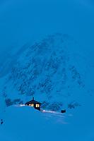 Don sheldon mountain house in the ruth amphitheater, Alaska Range, Interior, Alaska.