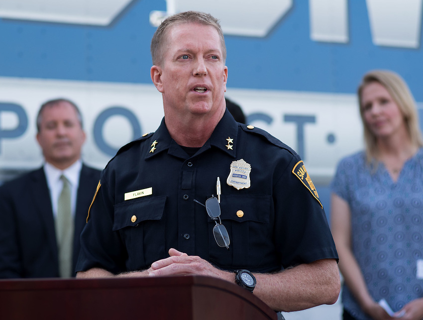 San Antonio Assistant Chief of Police James Flavin speaks during a press conference about combating human trafficking in Texas, Thursday, Sept. 1, 2016, at the San Antonio Police Department Public Safety Headquarters in San Antonio. (Darren Abate for the Texas Tribune)
