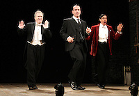 LONDON, ENGLAND - NOVEMBER 05: Mark Hadfield, Matthew Macfadyen (as Jeeves) &amp; Stephen Mangan (as Bertie Wooster) star in 'Perfect Nonsense' at the Duke Of York's Theatre on November 5th 2013 in London, England.<br /> CAP/ROS<br /> &copy;Steve Ross/Capital Pictures