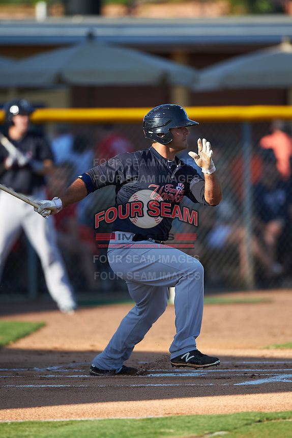 Tampa Yankees first baseman Mike Ford (25) at bat during a game against the Lakeland Flying Tigers on April 7, 2016 at Henley Field in Lakeland, Florida.  Tampa defeated Lakeland 9-2.  (Mike Janes/Four Seam Images)