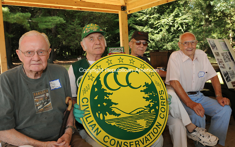 WATERTOWN, CT 31  JULY, 2010-073110JS03-Members of the Civilian Conservation Corps, from left, Ed Kelly of Woodbury who worked in the Windsor Camp and Triangle Lake in Oregon, Walter Sekula of Norwich who worked in Meeker Colorado, Al Bellucci of Waterbury who worked in Camp Mohawk and John Bowey of Waterbury who worked in Oregon, pose during a reunion of CCC workers Saturday at Black Rock State Park in Watertown. The Civilian Conservation Corps was a New Deal program that hired more than 3 million men to plant more than 3 billion trees and do other forestry work from 1933-1942. According to Marty Podskoch of Colchester, who wrote about the Connecticut CCC, the state had 22 CCC camps which enrolled about 28,500 men. The group will will have another gathering of CCC workers on September 18 at the Civilian Conservation Corps museum at Shenipsit State Forest in Stafford. For more information or if you have stories about the CCC, contact Marty Podskoch at www.cccstories.com.<br /> Jim Shannon Republican-American