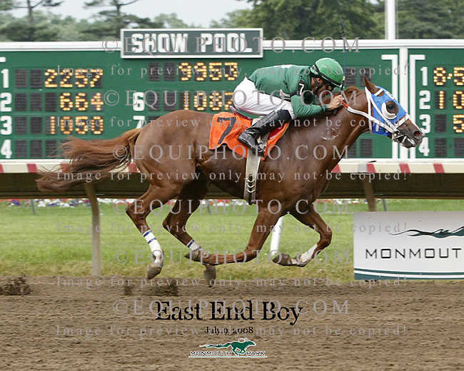 East End Boy #7 with Kendrick Carmouche riding won the 9th race at Monmouth Park on 7/9/08.  Photo By EQUI-PHOTO