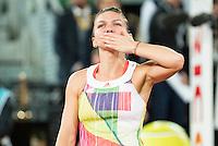 Romanian Simona Halep celebrating the victory during WTA Final Mutua Madrid Open Tennis 2016 in Madrid, May 07, 2016. (ALTERPHOTOS/BorjaB.Hojas) /NortePhoto.com