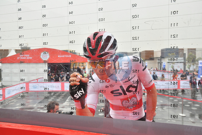Polish National Champion Michal Kwiatkowski (POL) Team Sky signs on before the start of Stage 6 of the 2019 UAE Tour, running 175km form Ajman to Jebel Jais, Dubai, United Arab Emirates. 1st March 2019.<br /> Picture: LaPresse/Massimo Paolone   Cyclefile<br /> <br /> <br /> All photos usage must carry mandatory copyright credit (© Cyclefile   LaPresse/Massimo Paolone)