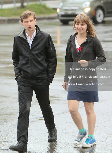 CLASSE spokespersons Gabriel Nadeau Dubois and Jeanne Reynolds arrive at the meeting with Quebec government in Quebec City Tuesday May 15, 2012.