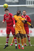 Joe Christou of Hornchurch and Shola Ayoola of Merstham during Hornchurch vs Merstham, BetVictor League Premier Division Football at Hornchurch Stadium on 15th February 2020