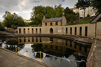 Cleveland Poools, Bath, UK, July 28, 2015. The Cleveland Pools are the UK's oldest existing Georgian lido. The pools were built around 1815 and stayed open until 1984. Now disused, a project is underway to restore them to their former glory.