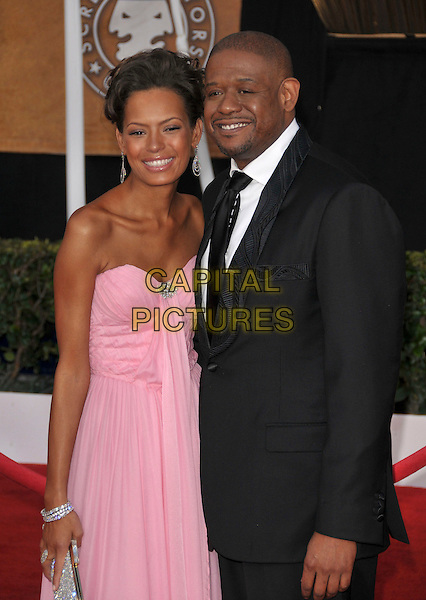 KEISHA WHITAKER & FOREST WHITAKER.At The 14th annual Screen Actors Guild Awards (SAG Awards)  held at Shrine Auditorium, Los Angeles, California USA, January 27, 2008..half length pink strapless dress married husband wife.CAP/DVS.©Debbie VanStory/Capital Pictures