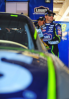 Nov. 7, 2008; Avondale, AZ, USA; NASCAR Sprint Cup Series driver Jimmie Johnson during practice for the Checker Auto Parts 500 at Phoenix International Raceway. Mandatory Credit: Mark J. Rebilas-