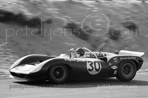 Dan Gurney's race-winning Lola T70-Ford 302 during 1966 Bridgehampton Can-Am, New York state