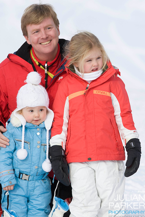 Crown Prince Willem Alexander, of Holland with Daughters, Princess Catharina Amalia and Princess Ariane attend a Photocall with Members of The Dutch Royal Family during their Winter Ski Holiday in Lech Austria