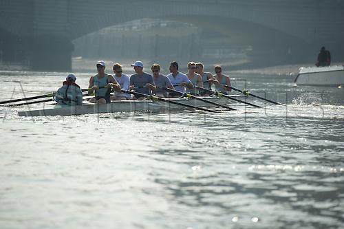 25 March 2011. The Xchanging Oxford & Cambridge Universities Boat Race 2011 - Tideway week practice outings.  Cambridge Blue Crew (from bow): Mike Thorp (GB) [Bow], Joel Jennings (GB), Dan Rix-Standing (GB), Hardy Cubasch (Aus), George Nash (GB), Geoff Roth (Can), Derek Rasmussen (US), David Nelson (Aus) [Stroke], Liz Box (GB) [Cox].