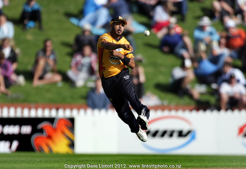 Wellington's Jeetan Patel in action during the HRV Cup Twenty20 cricket match between Wellington Firebirds v Northern Knights at Hawkins Finance Basin Reserve, Wellington. Wednesday, 11 January 2012. Photo: Dave Lintott / lintottphoto.co.nz