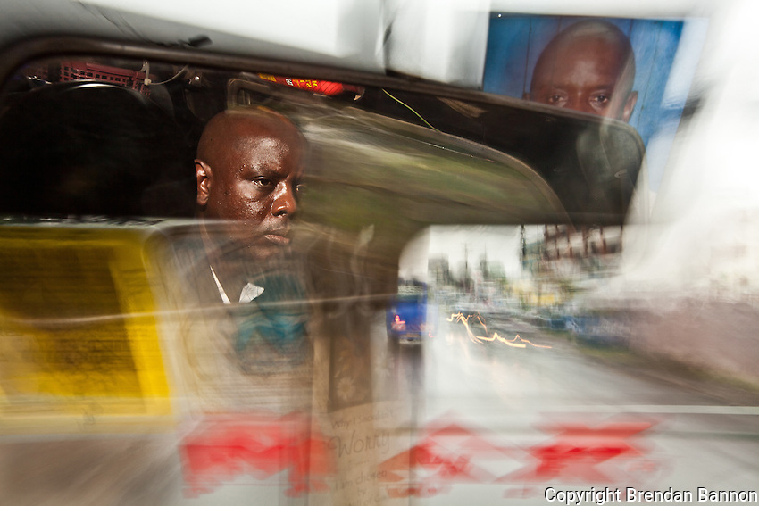 Emmanuel Sinzole Matatu driver on route 46 in Nairobi.