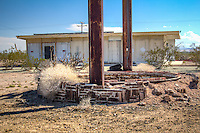 The remains of the Road Runner Retreat on Route 66 in Chambless California, which closed in 1995.